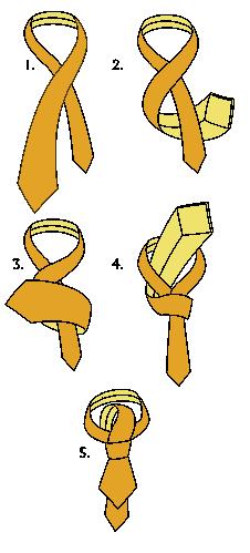 Jednoduchý - jednouzlový uzel na kravatě